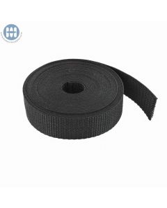 "1"" Heavy Polypropylene Webbing Black Roll"